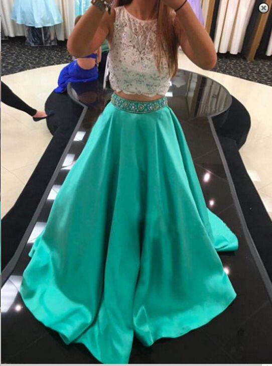 Mint Green Prom Dresses, 2 Piece Prom Gowns,2 piece Prom Dresses,Lace Prom Dresses,Mermaid Prom Gown,2016 Prom Dress With Lace For Teens