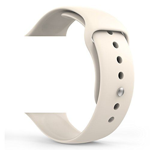 cool Apple Watch Band Series 1 Series 2, MoKo Soft Silicone Replacement Sport Band for 42mm Apple Watch 2015 & 2016 All Models, Antique WHITE (Not Fit 38mm Versions)