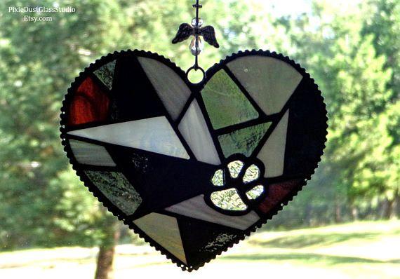 "Stained Glass Pet Memorial Garden Stake, ""Forever in my heart"" Heart Shaped Pet Memorial Suncatcher, Pet Grave Marker, Pet Loss Gift"