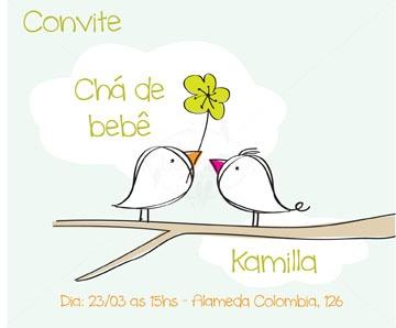 Convite Chá de Bebê estampa passarinhos com flor