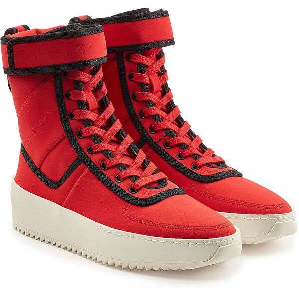 Fear of God Lace-Up Boots ($1,635) ❤ liked on Polyvore featuring men's fashion, men's shoes, men's boots, red, mens lace up ankle boots, mens lace up shoes, mens lace up boots, mens velcro shoes and mens red boots
