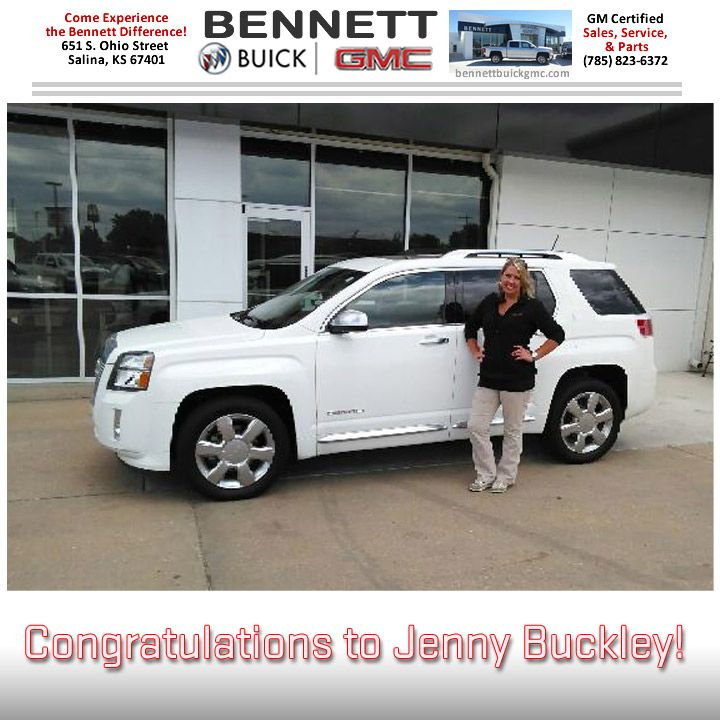 Jenny Buckley is all smiles with her new GMC Terrain Denali! Congratulations and safe travels this summer from Gene Hindman and all of us at Bennett Buick GMC! #salinaks #whywedoit #bennettbuickgmc