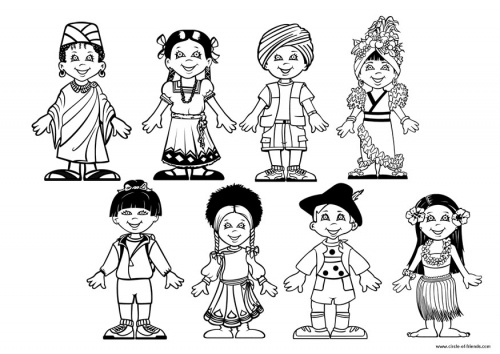 Multicultural coloring pages
