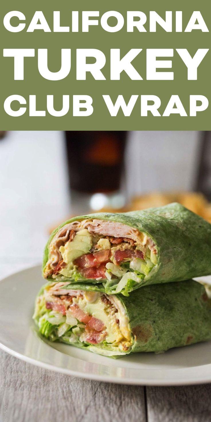 California Turkey Club Wrap with turkey, bacon, avocado, tomato and lettuce. A h…