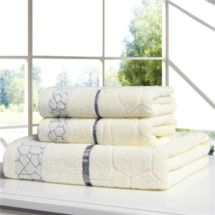 Towel set 100% cotton face bath towels pink beige blue 3pcs/lot beach toalla 70*140cm water cube adults playa serviette de plage
