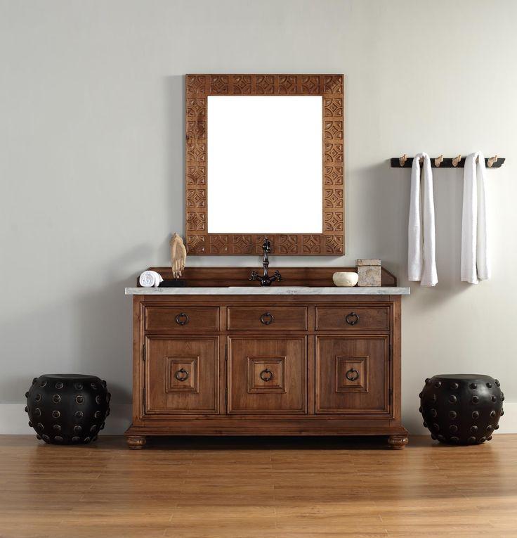 Image Gallery Website Mykonos Single Sink Bathroom Vanity Cabinet Cinnamon Finish Carrara White Marble Countertop