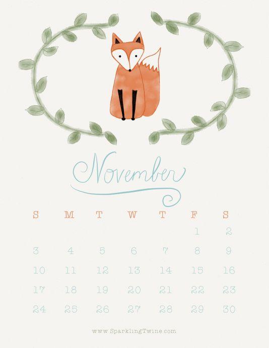 November 2013 Calendar by SparklingTwine.com : : Stay Clever Little Fox