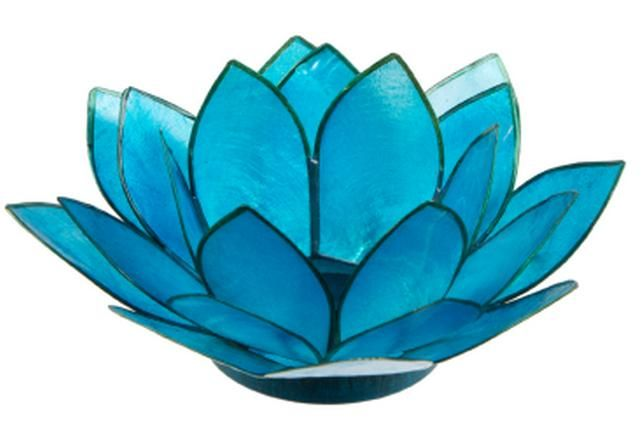 BBTLBL Blue lily tea light holder. Approx 10cm wide. Create a beautiful blue ambience $5.00 each for hire including a 9 hour burn tea light