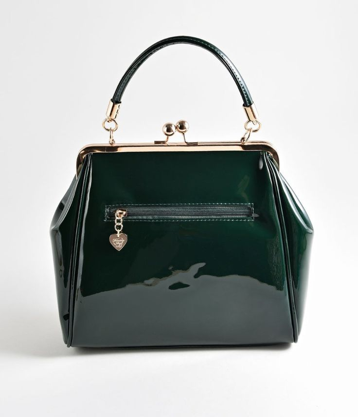 Banned Emerald Green Patent Leatherette Top Frame Handbag