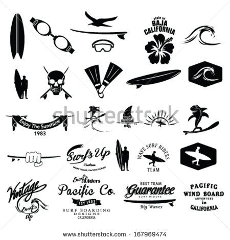 surfer vector set.vintage surf elements.vector retro surf label set.