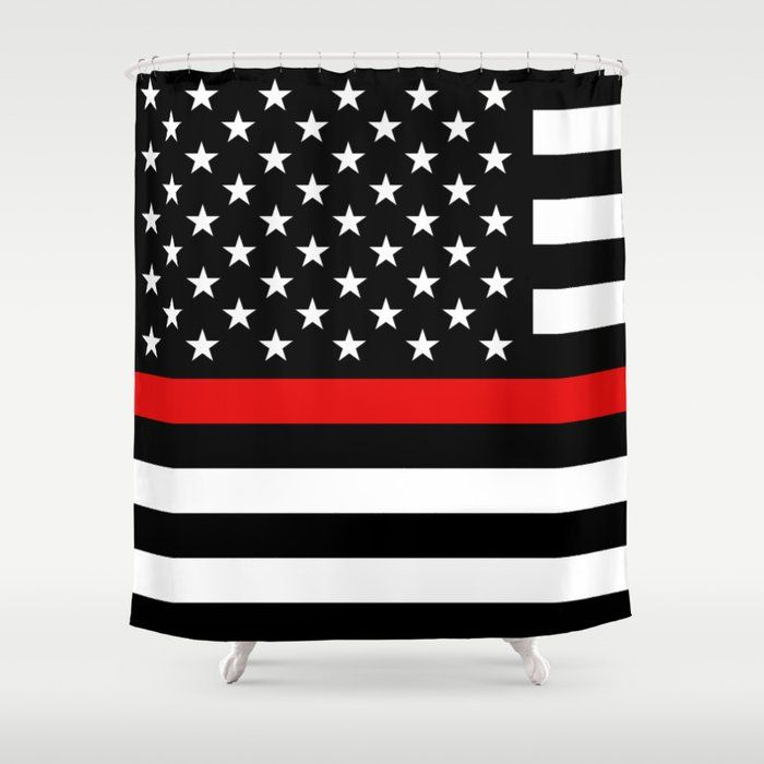 Thin Red Line Firefighters Us Flag Shower Curtain By