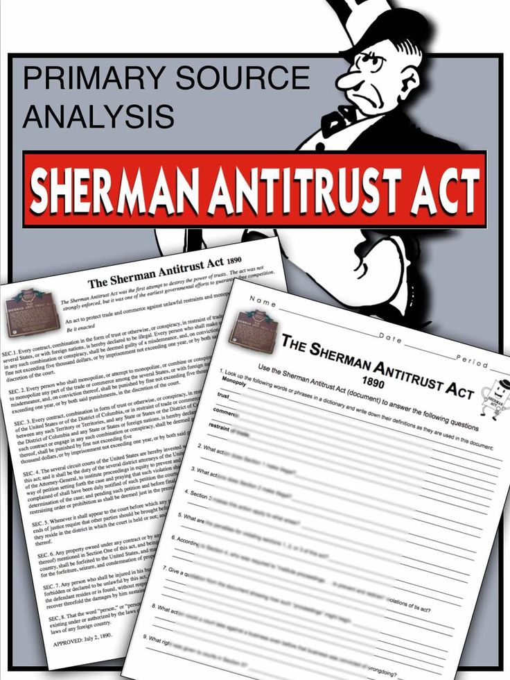 an analysis of sherman anti trust act of 1890 Worksheets / social studies / us history / sherman antitrust act (1890) facts & worksheets premium download the sherman antitrust act the sherman antitrust act was a federal statute passed by the congress in 1890 sherman case study picture analysis.