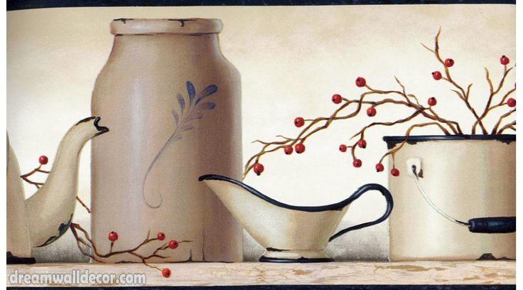 York Wallcoverings Kitchen: Grey Cups Jars Wallpaper Border