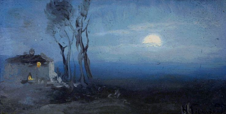 Landscape with a moon by Henryk Siemiradzki, fourth quarter of the 19th century (PD-art/old), Muzeum Narodowe w Krakowie (MNK)