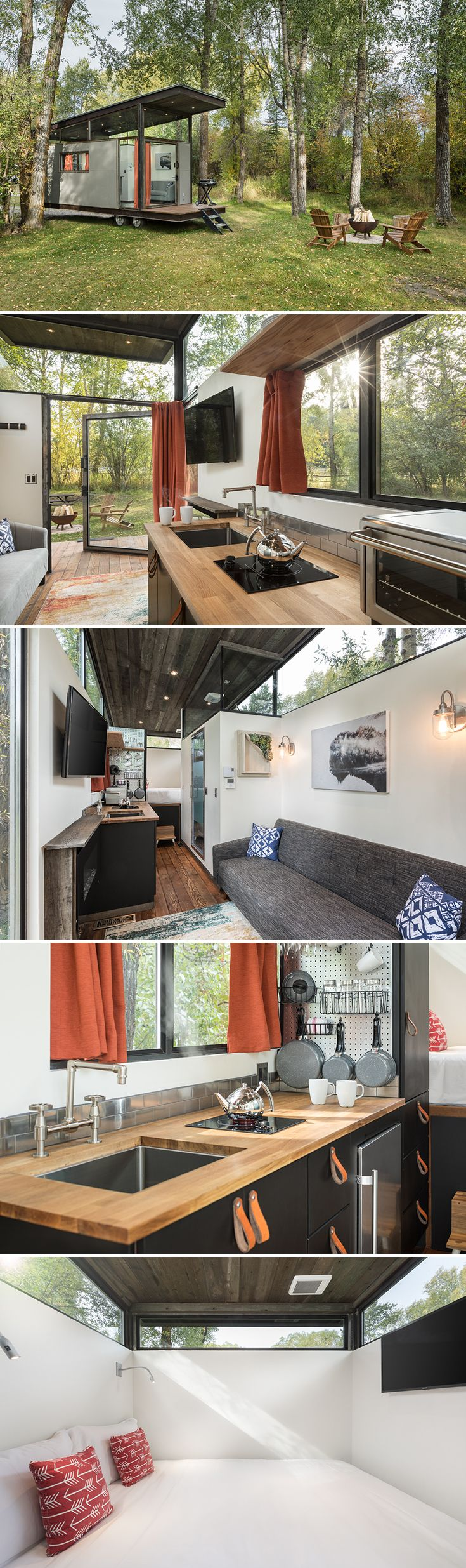 Based on their Wedge model, the RoadHaus by Wheelhaus offers a smaller footprint while still providing a main floor bedroom and wrap-around upper windows.
