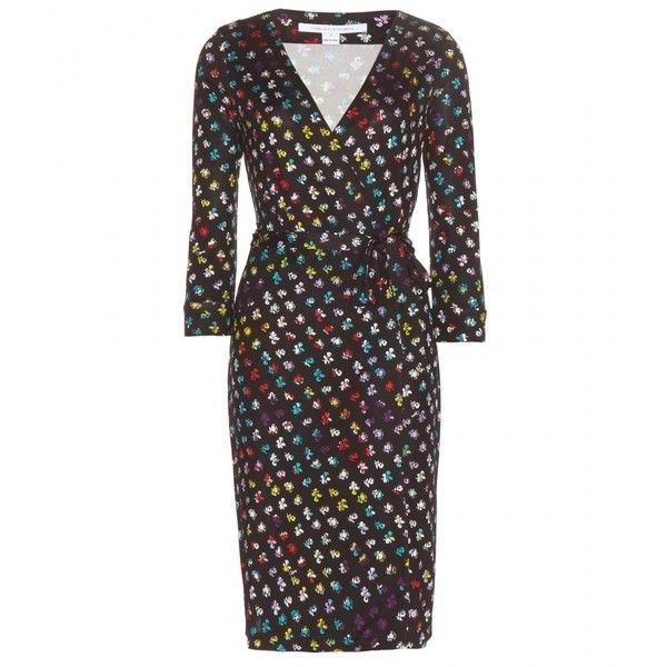 Diane von Furstenberg New Julian Two Silk Wrap Dress ($435) ❤ liked on Polyvore featuring dresses, black, diane von furstenberg dresses, multicolor dress, kohl dresses, multi color dress and colorful dresses