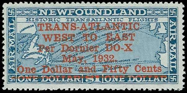 Newfoundland Airmail stamps, Scott C12, 1932 $1.50 on $1 Do-X Flight Surcharge, NH, fresh and Very Fine (Scott $425)