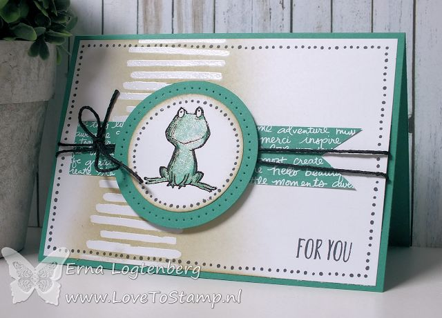 handmade card from Love To Stamp by Erna Logtenberg: Stampin Techniques 101: heat embossing ... used white for lines on background and sponged over ... used black embossing power for the cute frog ... makes it easier to color within the lines ...