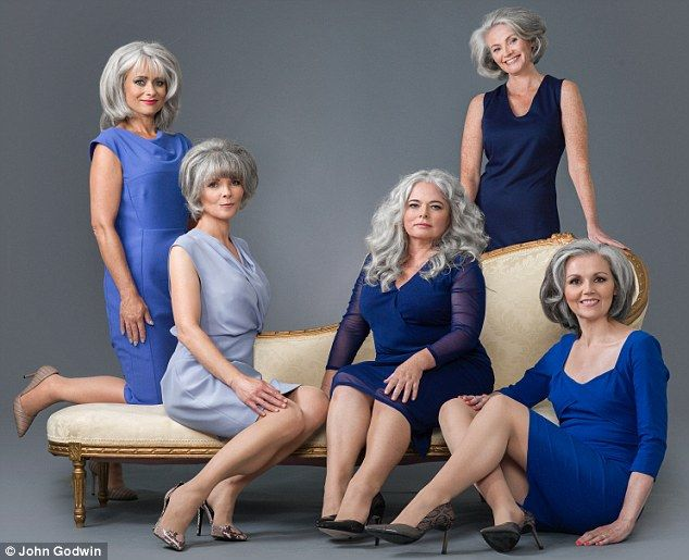The silver sisters: Denise O'Niell, 52, from Belfast, furthest right, met, from left to right, Ros Johnstone, 50, Vanessa Mills, 52, Sharon Rogers, 51 and Rachel Tromans, 44, thanks to her blog 'Grey is OK'