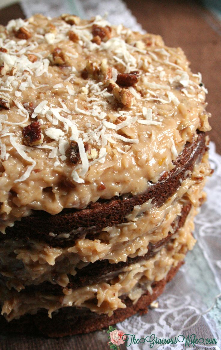 German Sweet Chocolate Cake- A traditional German Chocolate cake recipe with Coconut Pecan Frosting. Sweet and delicious!