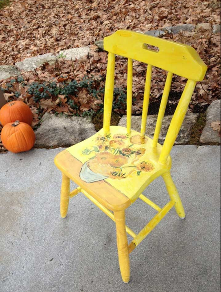 Cute Yellow Finished Small Armless Chair With Wooden Repurposed Furniture On Concrete Floors As Patio Futnishings Ideas