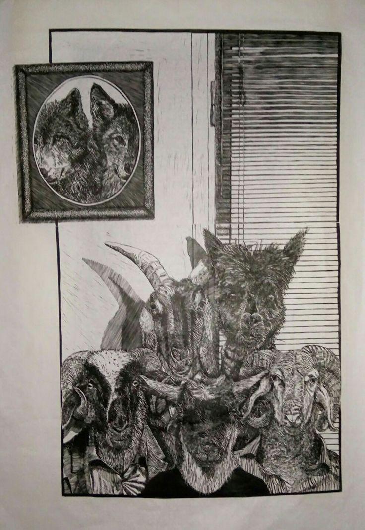 """The Board of directors"", linoleum,  75cm X 54,"