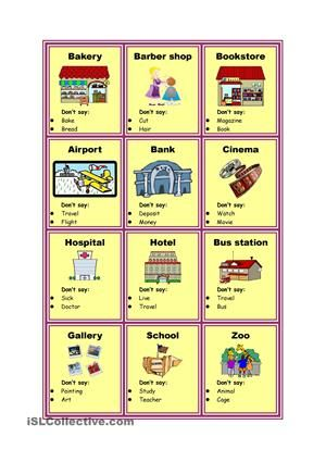 """Hi,this is one of my taboo cards for describing the different places in city. It's editable, so you can the """"Don't say"""" part and make it into your vocabulary flashcards. You also can change the taboo words. Remember, you need to let one student to describe, and another one to guess. So hope you will like it. Have a nice day! _ Tom - ESL worksheets"""