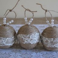 This charming set of three twine-wrapped ornaments are perfect for a rustic Christmas. 7cm / 3 inches styrofoam balls are wrapped with natural jute twine and then embellished with a band of ivory lace for a french, rustic look and feel. Jute twine loop...