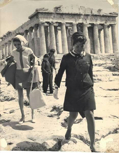 Olympic Airways staff in Akropolis - vintage | Greece
