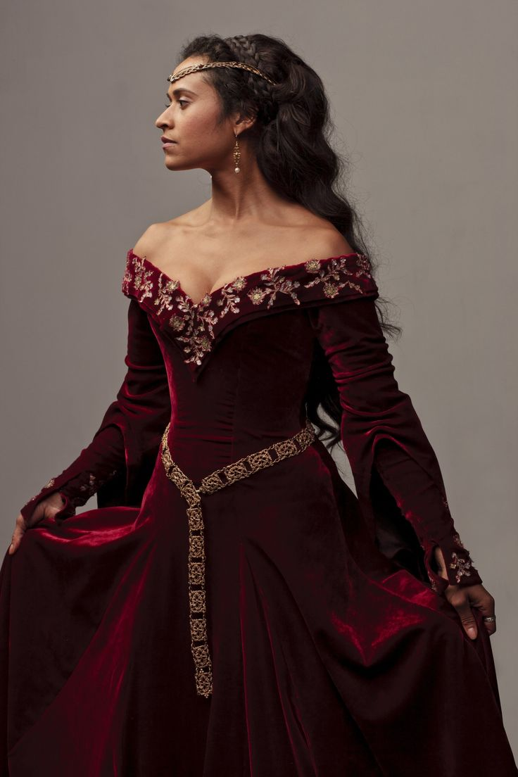 Deep red velvet medieval dress, worn by an actress from the British TV series 'Merlin'.