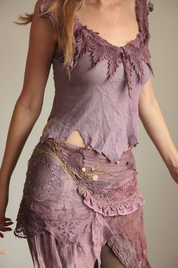 fae of the natural wild spirit wrap skirt purple by FractalWings