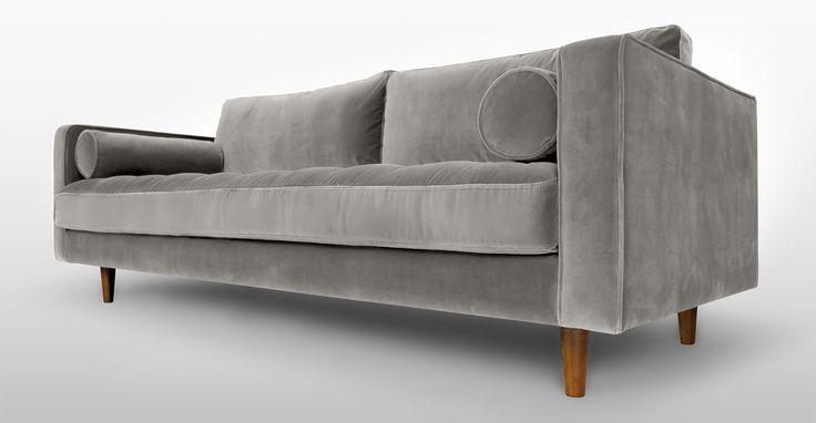Grey Velvet Mid Century Modern Sofa Upholstered Sven Mid