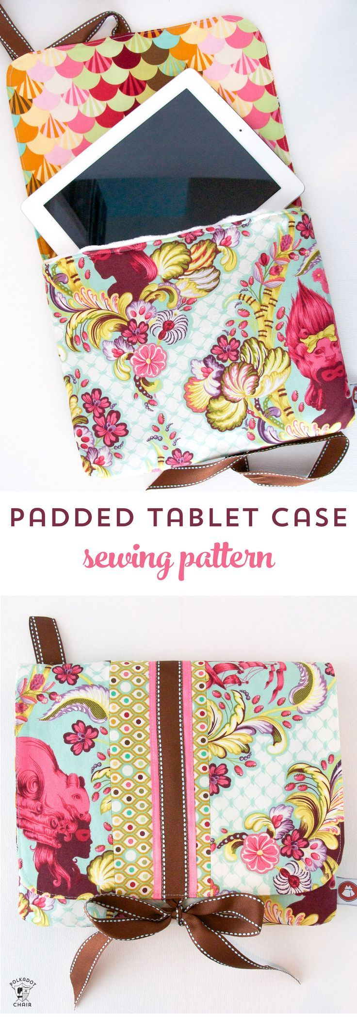 Tutorial for a padded ipad or tablet case. A free ipad case sewing pattern available on http://polkadotchair.com