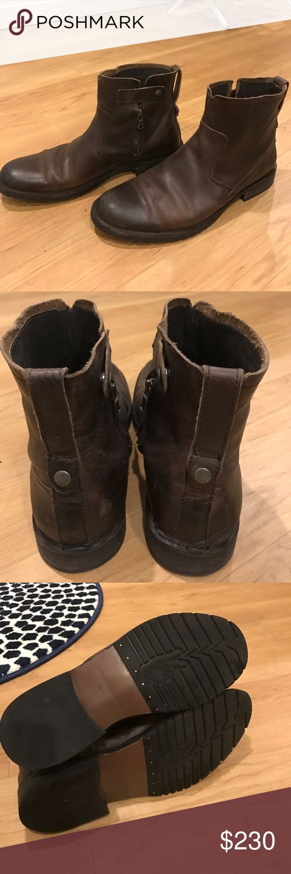 John Varvatos Brown Leather Boots - Mens John Varvatos Brown Leather Boots.  Only worn a few times. In great condition. John Varvatos Shoes Boots