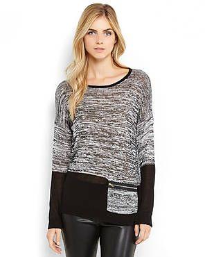 SIONI Black & Grey Space Dye Knit Dolman Top