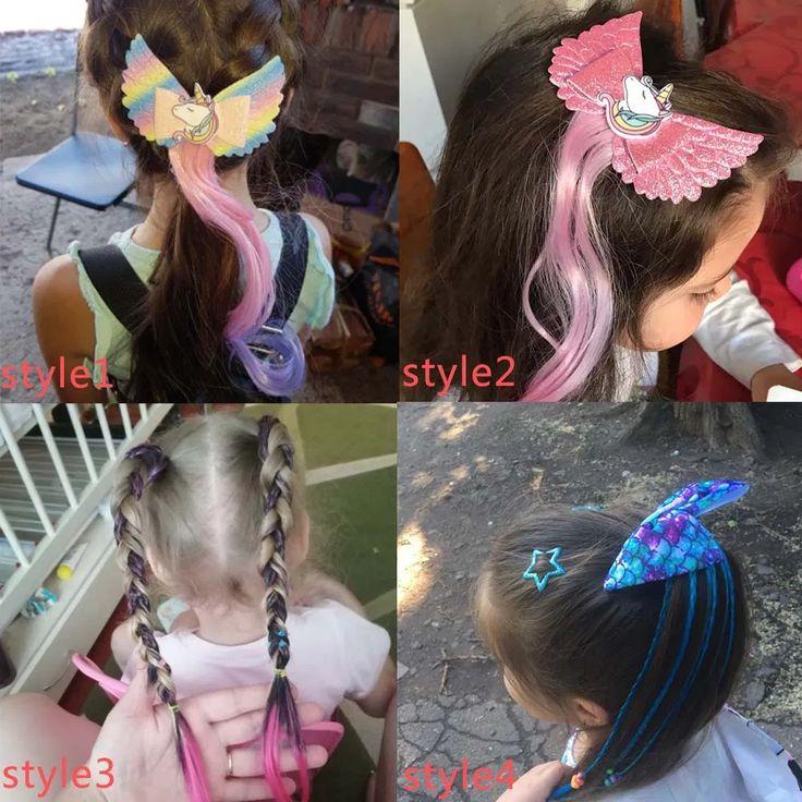 Bandeaux de cheveux pour noeud de sirène de filles chouchous pour attache de cheveux enfants coloré long ~ bandes de cheveux Larry