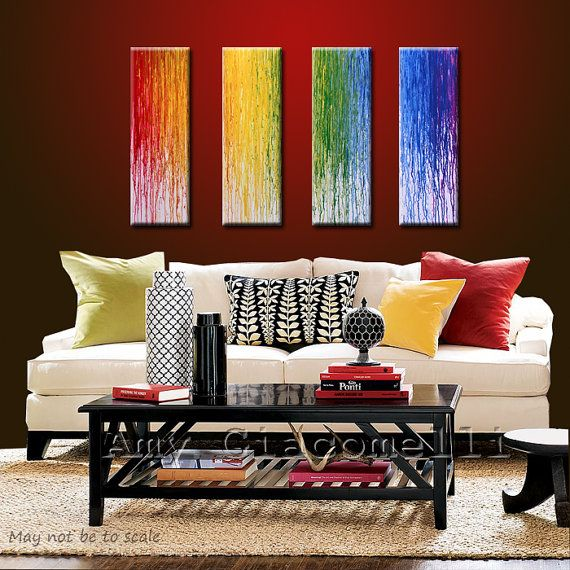 Variation on the one big melted crayon canvas. It would be cute for a kids room/playroom, for sure!