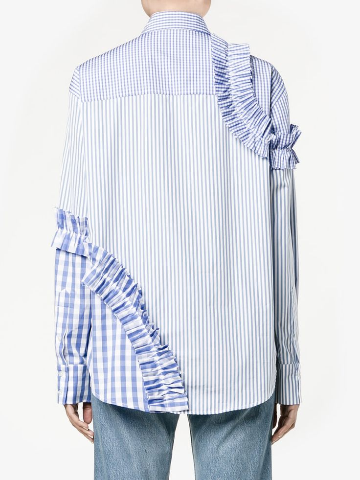 MSGM Ruffled-Trim Contrast-Panelled Shirt