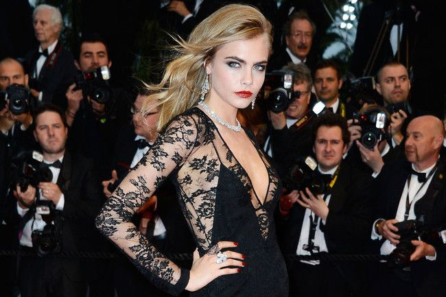 """@StyleBistro Cara Delevingne's first Cannes Film Festival appearance blew. us. away. Burberry's sheer lace was the perfect amalgamation of sexy, glamorous, and elegant. She topped it off with loads of diamonds but wore her hair in that """"I don't give a -"""" way only models can.    #fashion #attitude #glam #cannes"""