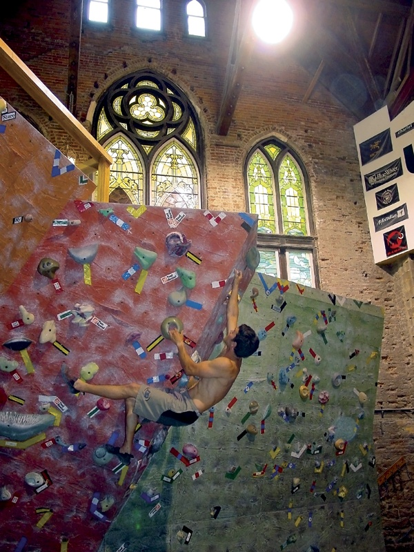 UrbanKrag in Dayton - climb in an old church? don't mind if i do! I also think I might be in love with rock climbing