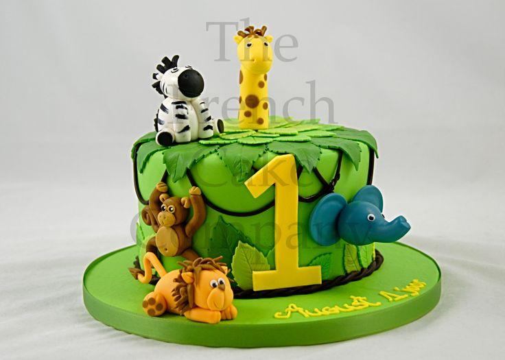 Cake for toddlers Jungle Animals - Gateau D'anniversaire pour Enfant - Bebe Animaux de la Jungle - Verjaardagstaart