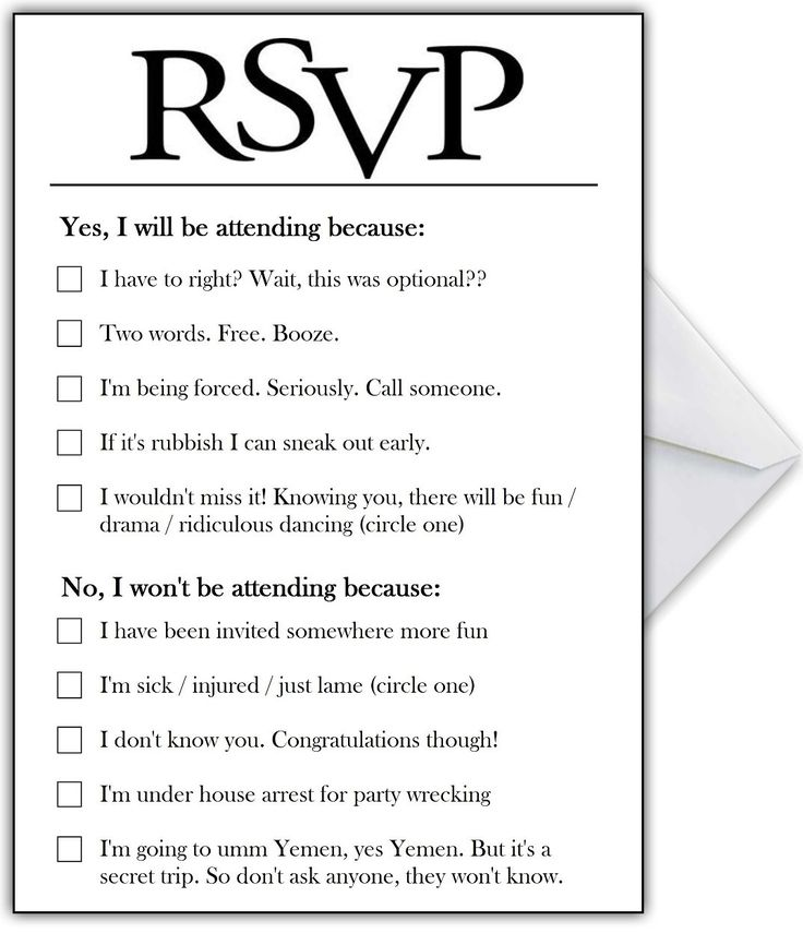 Best 25 funny wedding invitations ideas on pinterest fun rsvp card with hilarious options or add your own funny reasons junglespirit Gallery