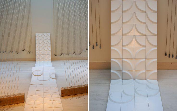 Cutting Edge Tokyo Exhibition 2015, Stone Designs. Our Bowl tiles for Peronda at the Yuichiro Yamanaka space. #tiles #ceramic #walls #japan #design #stonedesigns #Peronda #Icex