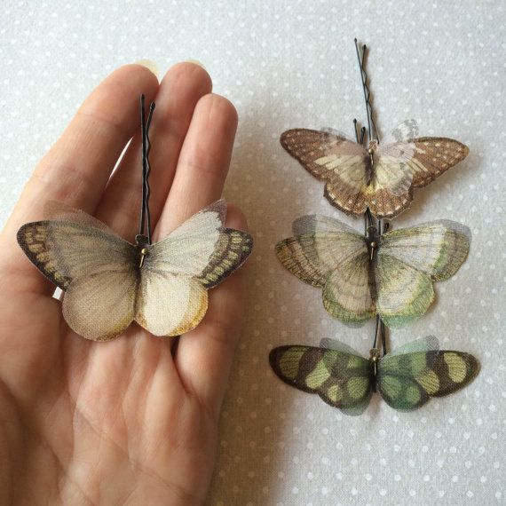 Soft - Handmade Bio Cotton and Silk Organza Green, Ivory and Brown Butterflies Hair Bobby Pin - 4 pieces