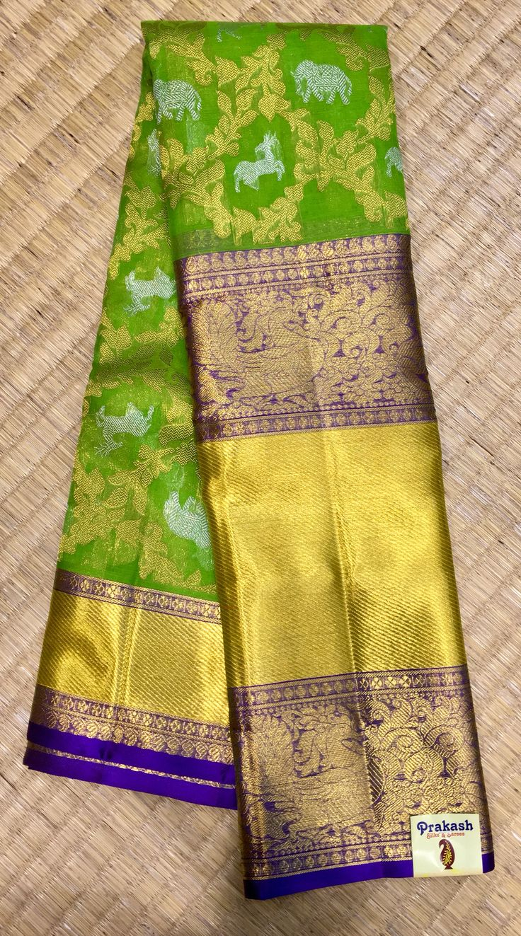 Organza saree with traditional border from prakashsilks.