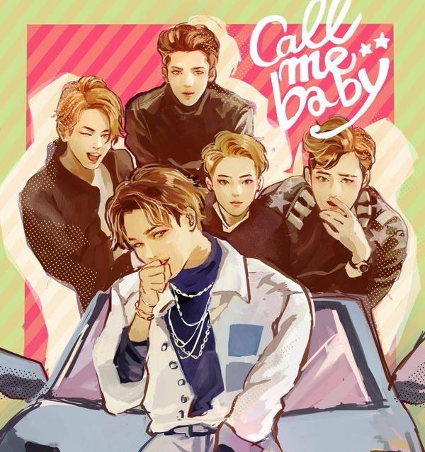 exo kai baek suho sehun fanart call me baby: WOW Whoever drew this fanart is so…