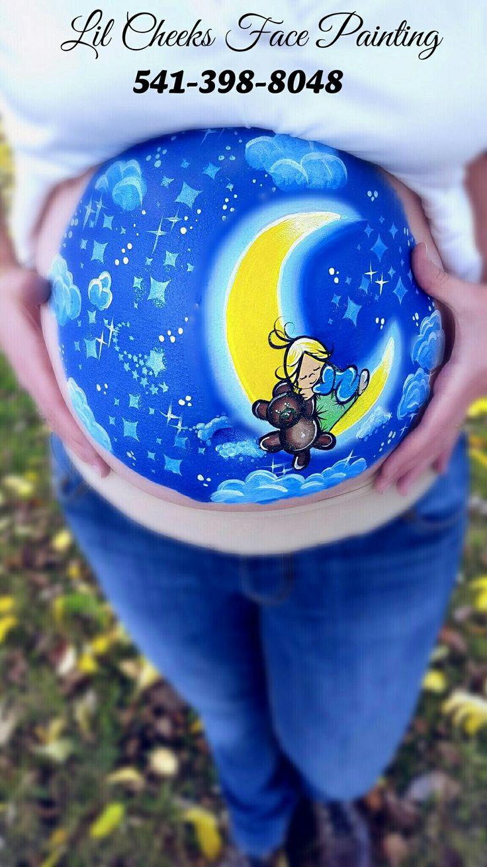 Lil Cheeks FP -painted by Pauline Look me up on facebook! LilCheeks FacePainting and on instagram lilcheeksfp. Prenatal Belly Painting