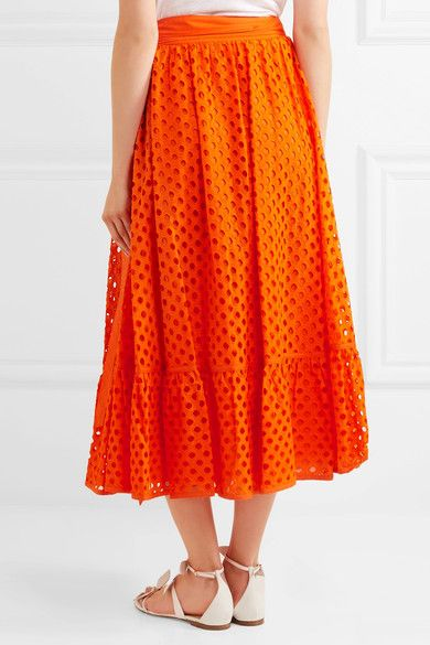 Tory Burch - Hermosa Broderie Anglaise Cotton Wrap Skirt - Orange