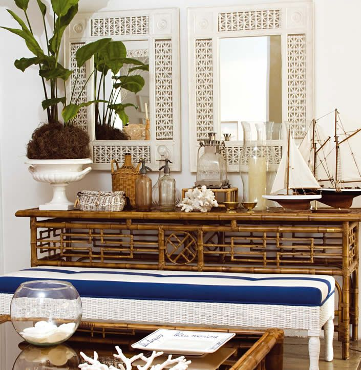 Tropical-chic Design...vignette with wonderful island feel