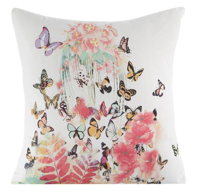 Dekoračná návliečka na vankúš bielej farby s kvetmi a motýľmi